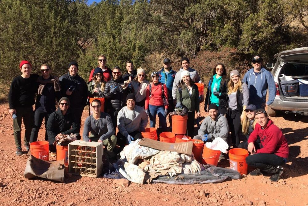 Red Bull group that cleaned up trash at Chavez Ranch Road Day Use Area, 12/6/17